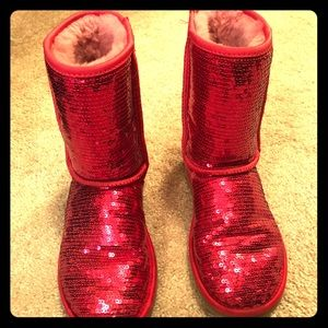 UGG red sequin boots